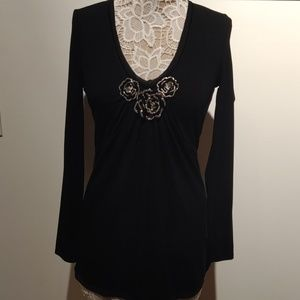 Whbm black long sleeve shirt small